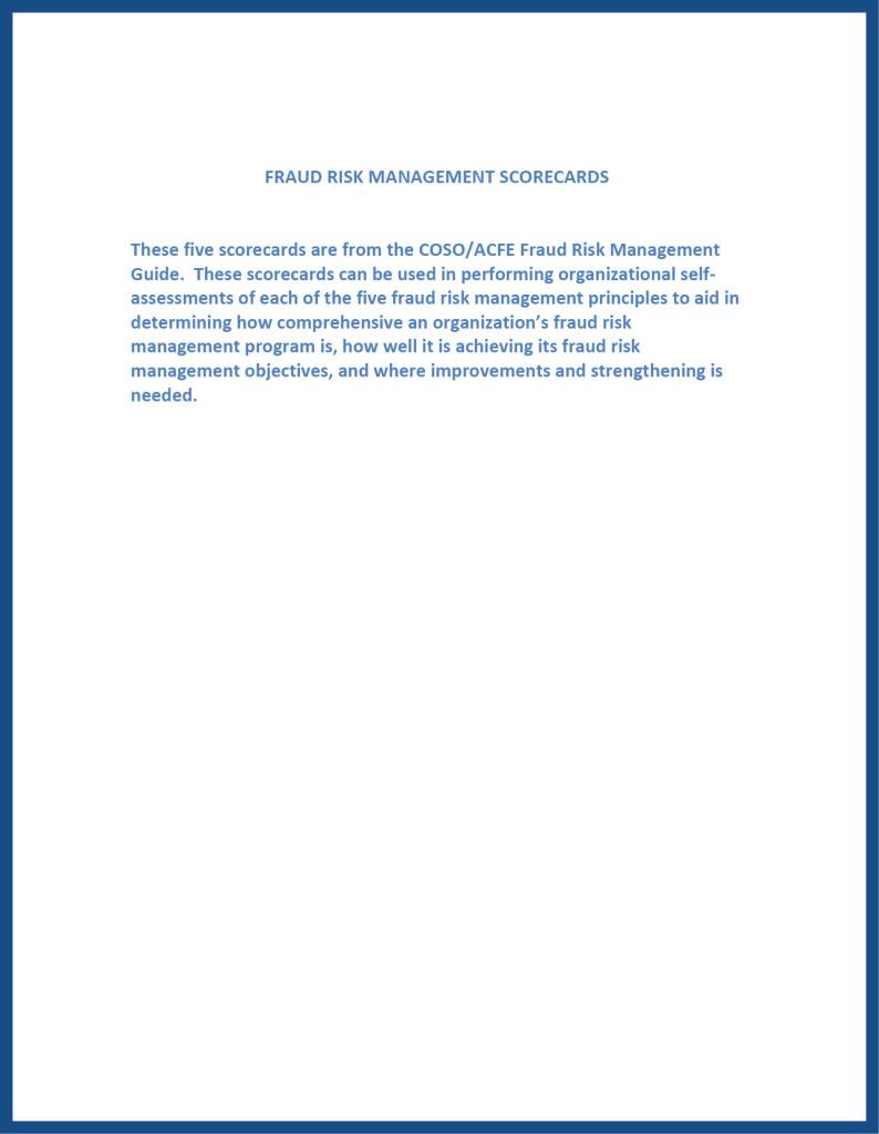 Fraud Risk Management Scorecards